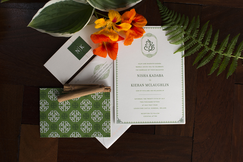 lough eske castle multicultural wedding invite