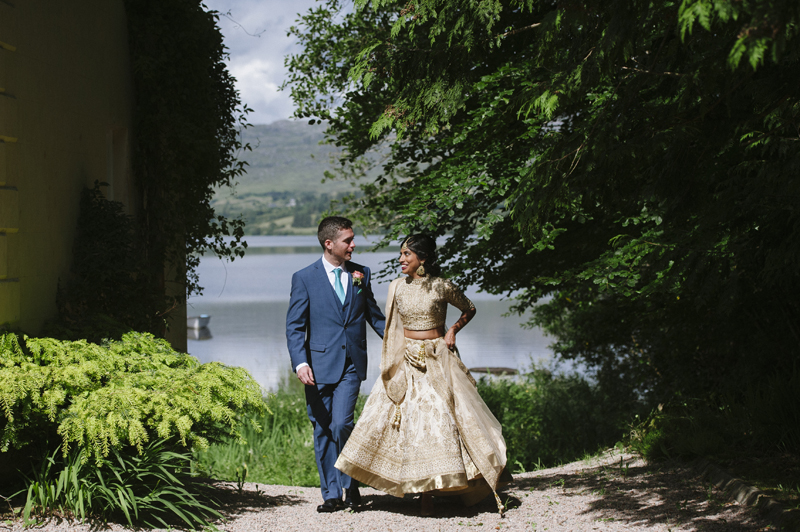 lough eske castle wedding bride and groom at lake