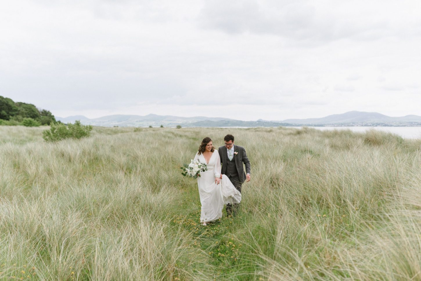bride and groom rathmullan house beach