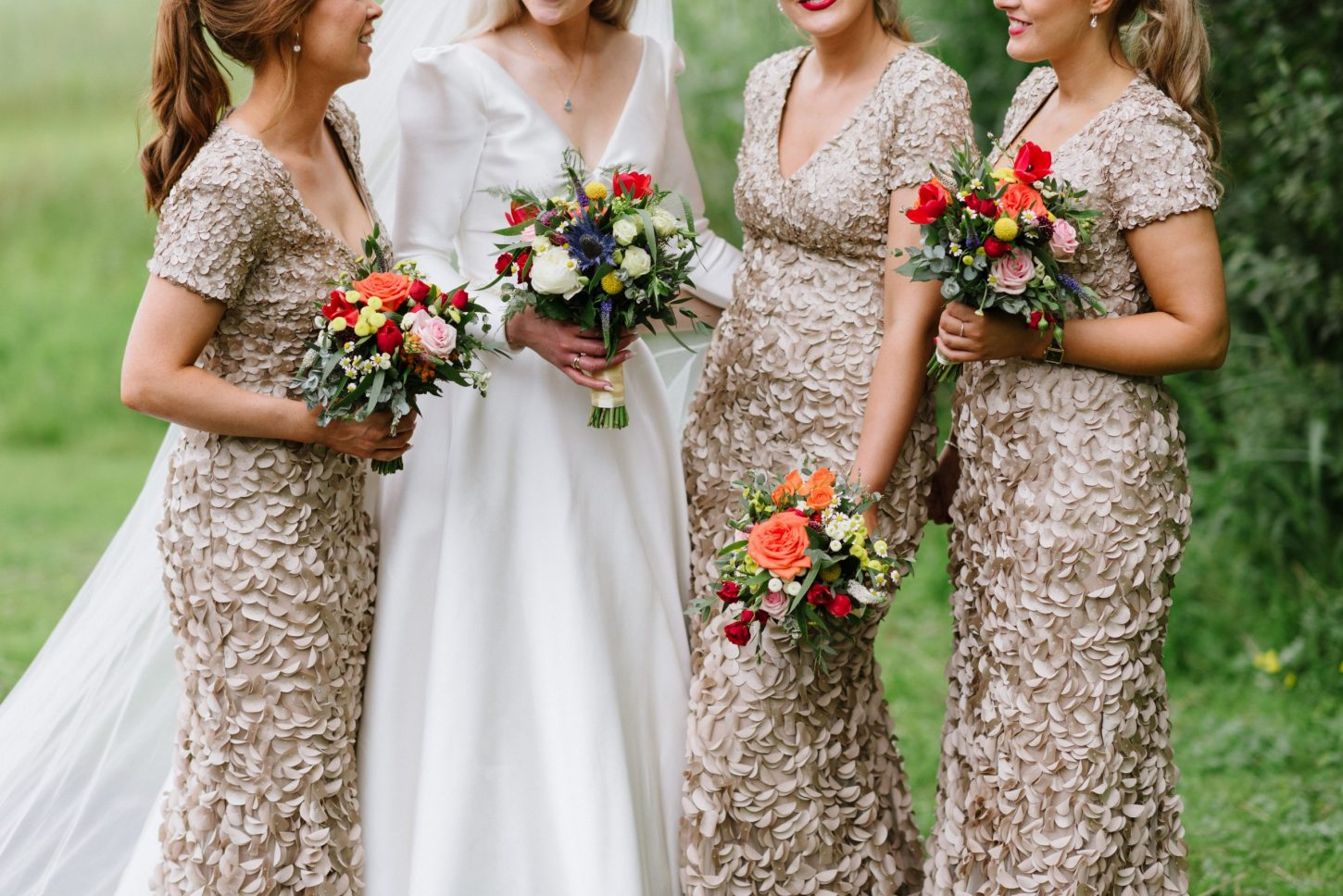 dress details and flowers