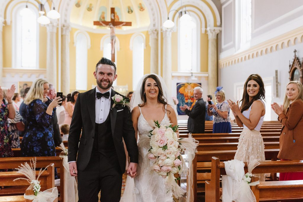 bride and groom getting married in church donegal