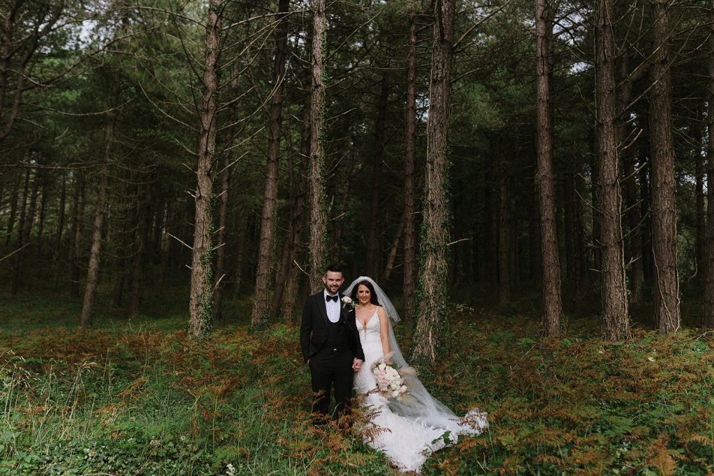 bridal and groom in forest